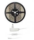 Solight LED světelný pás s testrem, 5m, sada s 12V adaptérem, 4,8W/m, IP65, teplá bílá (WM51-65T)