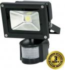 LED reflektor Solight venkovní, 10W, 700lm, AC 230V, černá, se senzorem WM-10WS-E