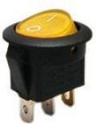 Spínač  12V/20A žlutý kontrolka kulatý L484