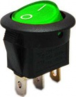 Spínač 12V/20A zelený kontrolka kulatý L488