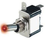 Spínač 12V/25A rudá LED páčkový L315