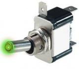 Spínač 12V/25A zelená LED páčkový L316