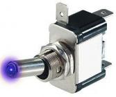 Spínač 12V/25A modrá LED páčkový L317