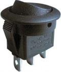 Spínač 250V/6A černý kulatý L482